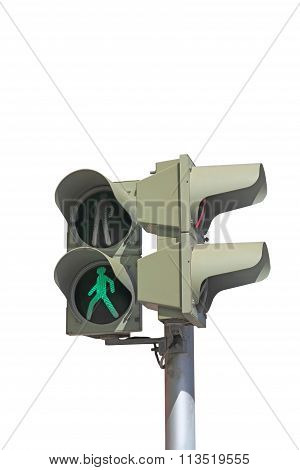 Green Signal Of A Traffic Light Isolated On A White Background
