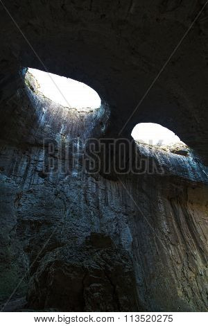 The Eyes of God in Prohodna Cave, famous cave, Bulgaria