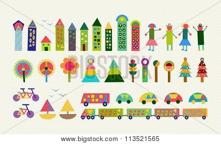 City Element Set Color Geometry Happy Decoration