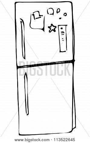 Vector Sketch Refrigerator With Stickers On The Doors