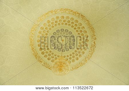Ceiling detail of the Sultan Ismail Airport Mosque at Senai Airport in Malaysia