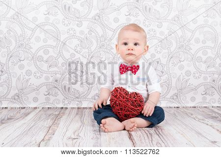 Baby Pose With Red Heart