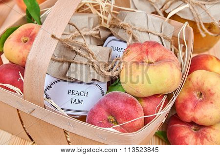Peach Jam And Fruits In A Basket