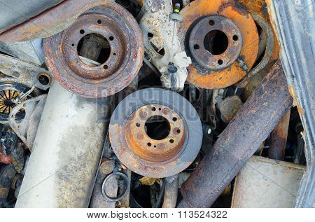 Useless, worn out rusty brake discs r and other parts