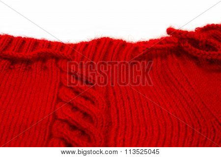 Texture Of Red Knitting Fabric With A Scythe