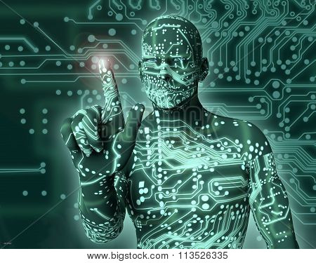 Electronic Man Pressing Virtual Computer Screen