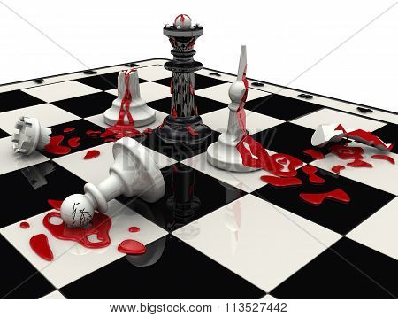 Chess battle. The black pieces won