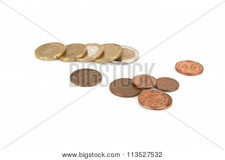 Banknots and cent euro on a white background