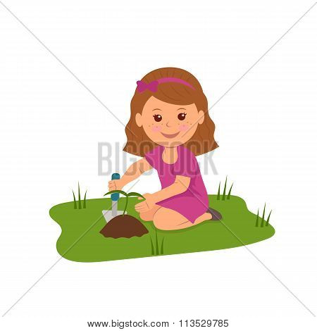 Cute girl planting flowers. Illustration of Ecology and Environmental Protection