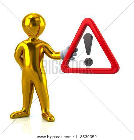 Golden Man Hholding  Warning Attention Sign With Exclamation Mark