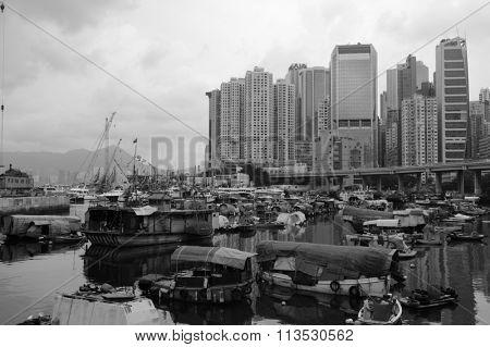 HONG KONG - JUNE 01, 2015: view of Causeway Bay Typhoon Shelter. Causeway Bay Typhoon Shelter was the first typhoon shelter in Hong Kong