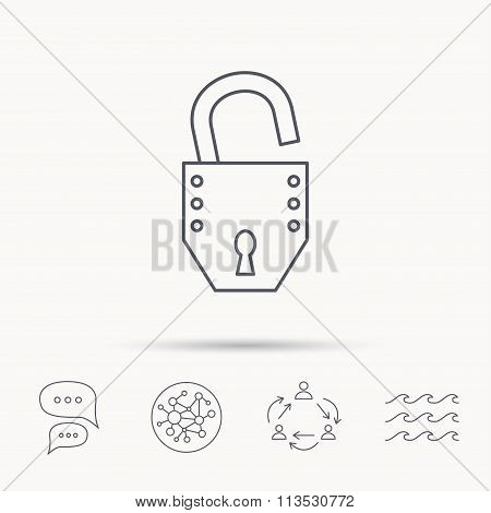 Open lock icon. Padlock or protection sign.