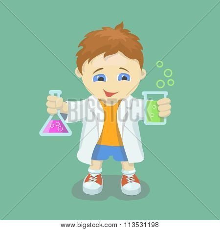 Boy doing chemical experiment.