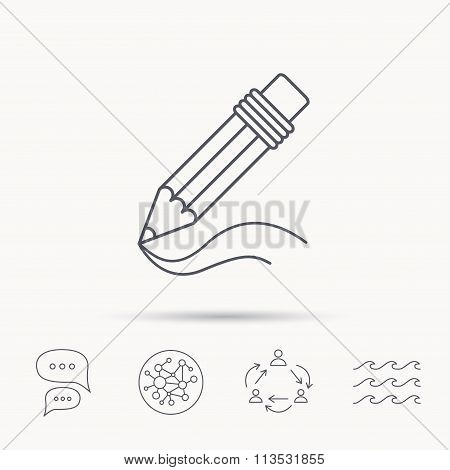 Pencil icon. Drawing tool sign.