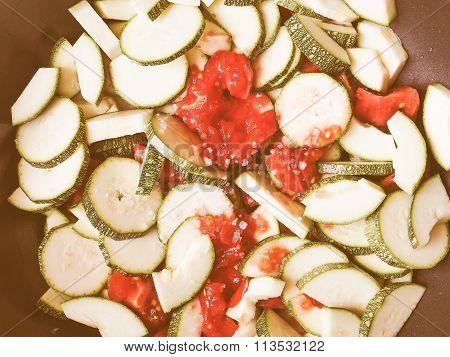 Retro Looking Zucchini With Tomato