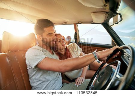 Romantic Young Couple Going On A Road Trip