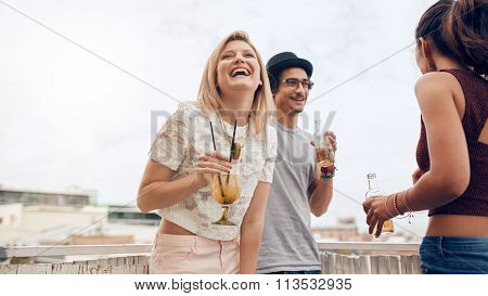 Young Woman Enjoying Party With Her Friends