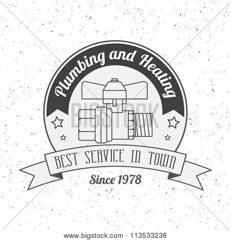 Vintage Plumbing, Heating Services Logo, Labels And Badges. Stylish Monochrome Design.for Your Compa