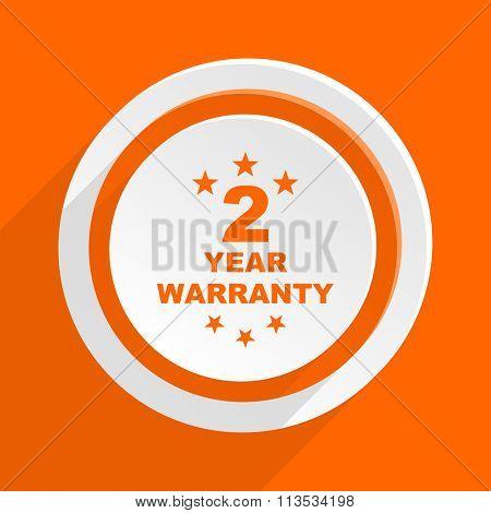 warranty guarantee 2 year orange flat design modern icon for web and mobile app