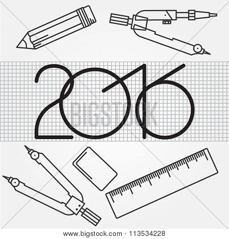 2016 And Drawing Tools Thin Line Icon Set For Web And Mobile,  Modern Minimalistic Flat Design. Set