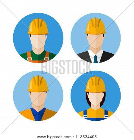 Set Of Builders Avatars