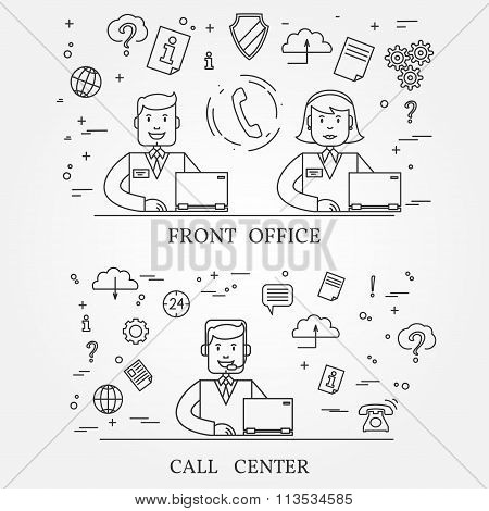Front Office And Call Center Concept Icon Thin Line For Web And Mobile, Modern Minimalistic Flat Des