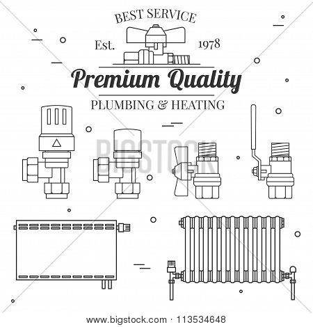 Ball Valve Icons And Central Heating Radiators Icons Thin Line For Web And Mobile