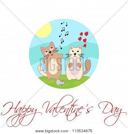 Singing Cat. Happy Valentine's Day. Vector.