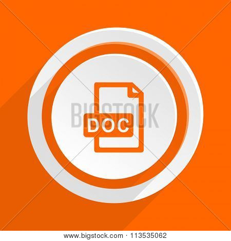 doc file orange flat design modern icon for web and mobile app