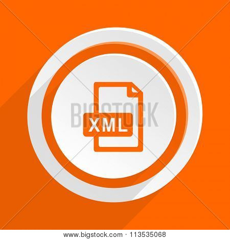 xml file orange flat design modern icon for web and mobile app