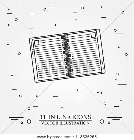 Notebook Thin Line Design. Notebook Pen Icon. Notebook Pen Icon. Notebook Pen Icon Drawing. Notebook