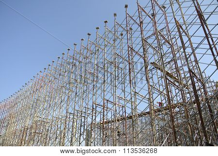 Scaffolding erected at the external wall of the building