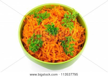 Spicy Salad Of Grated Carrots In Bowl, Isolated On White Background