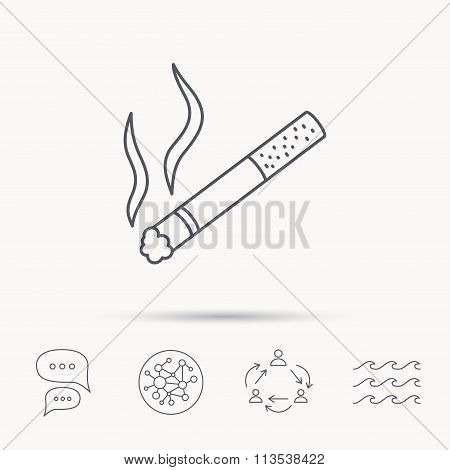Smoking allowed icon. Yes smoke sign.