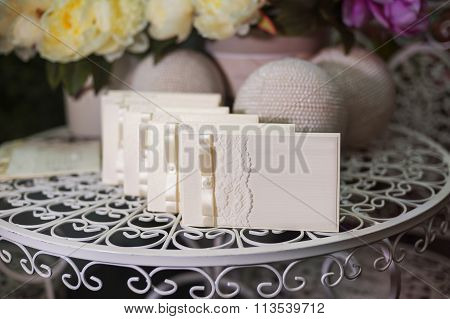 Festive Wedding Invitation In A Gentle Style On A Background Of Flowers