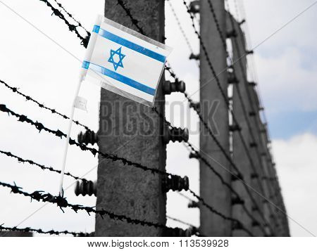 Flag of Israel on the barbwire