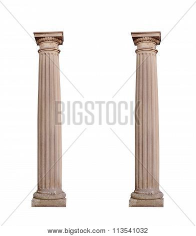 Architectural Columns On A White Background