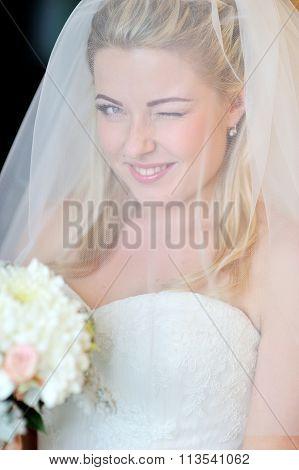 Beautiful Blonde Bride Winking Eye