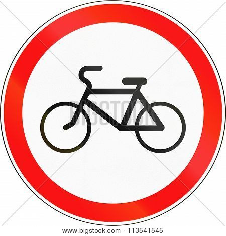 Road Sign Used In Russia - No Bicycles