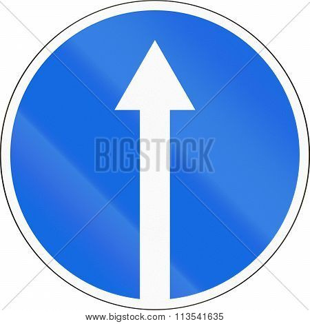 Road Sign Used In Russia - Mandatory Direction