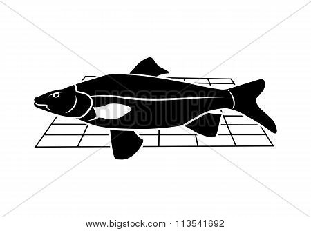 Fish on grille icon. Food, animal symbol. Cyprinidae family. Black sign. Vector isolated.