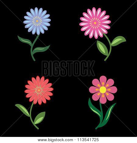 Flower icons set. Chamomile, daisy. Floral symbols with leaves. Blue, lilac, pink, orange, green col