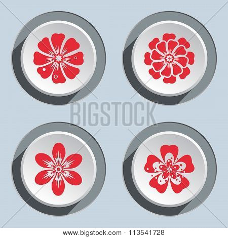 Flower icon set. Dahlia, aster, daisy, chamomile, chrysanthemum, gowan. Floral symbol. Red signs on