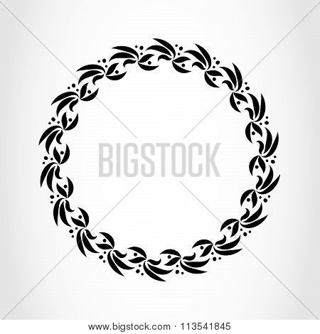 Laurel wreath circle tattoo icon. Black stylized ornament, leaves with berry sign on white. Victory,
