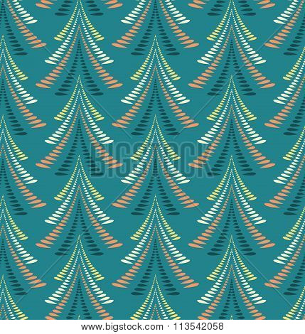 Seamless Christmas pattern. Stylized ornament of trees, firs on blue, turquoise background. Winter,