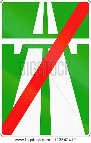 Road Sign Used In Russia - End Of Motorway