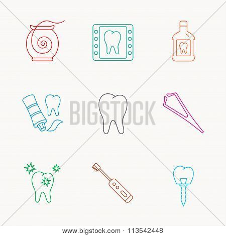 Dental floss, tooth and implant icons. Mouthwash.