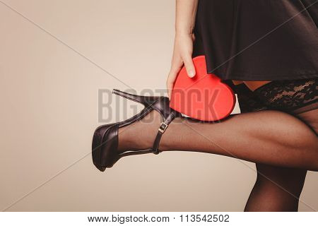 Heart On Woman Leg