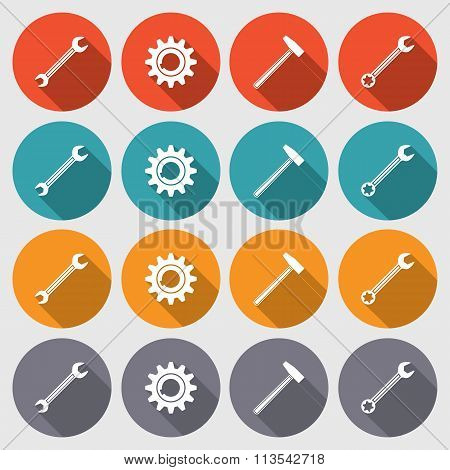 Cogwheel, hammer, wrench key icons set. Repair fix tool symbols. Round colored flat signs with long