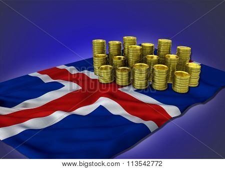 Island economy concept with national flag and golden coins